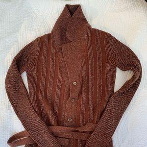 Miu Miu Glitter Wool & Cashmere Belted Cardigan